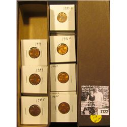"1722 . 9"" Stock box with 2 x 2 carded Lincoln Cents dating from 1969-1999, all BU to Gem BU."