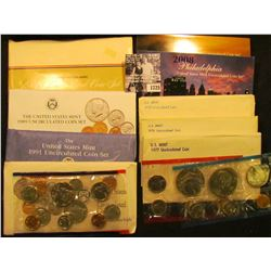 1725 . 1975, 76, 77, 86, 89, 91, 92, & 2008 U.S. Mint Sets, all original as issued. (Total of $32.56
