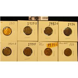 1733 . 1917D AU, 19S G, 33D VG, 34P VG, 34D VF, 35P Brown AU, 37S MS60, & 39P Brown AU Lincoln Cents