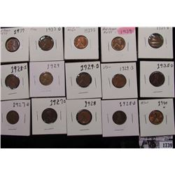 1739 . 1927D, S, 28P, D, S, 29P, D, S, 35D, 37P, D, S, 39P, D, & 40P Lincoln Cents, grades from Good