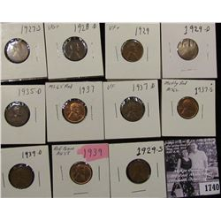 1740 . 1927S, 28D, 29P, D, S, 35D, 37P, D, S, 39P, & D  Lincoln Cents, grades from Good to BU.