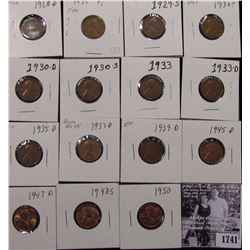 1741 . 1928D, 29P, S, 31P, D, S, 33P, D, 35D, 37P, D, S, 39D, 45D, 47D, 48S, & 50P Lincoln Cents, gr