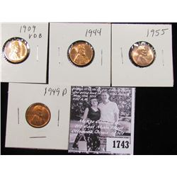 1743 . 1909 P VDB, 44P, 45P, & 49P Lincoln Cents, all Red BU to Superb Gem BU.