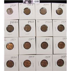 1745 . 1930P, D, S, 31P, 32D, 33P, D, 35D, 37P, 38D, 39P, D, S, 44D, 55P, & 58 D Lincoln Cents, grad