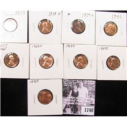 1748 . 1937P, 38D, 39S, 42P, 62P (Proof), 68P, D, 69D, & 76 D Lincoln Cents grading Uncirculated to