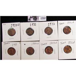 1753 . 1914D G+, 31P VF, 33P VG, 52D BU, 53P BU, 54S BU, 55D BU, 56D Lincoln Cents grading Uncircula