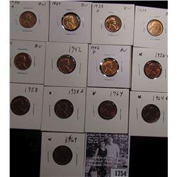 1754 . 1936S, 37P, 38D, 39P, 41S, 42P, D, 56D, 58P, D, 64P, D, & 69P Lincoln Cents grading Uncircula