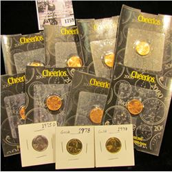 1759 . (8) 2000 Millenium Lincoln Cents in Cheerios advertising holders; 1975 D Cent zinc-plated; &