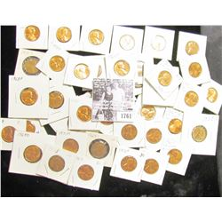 1761 . (45) various carded Lincoln Cents dating from 1955S to 1982. Most of which are BU and include