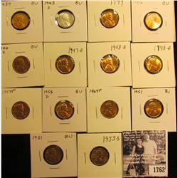 1762 . 1937P, 43S, 44P, 46P, S, 47D, (2) 48D, (2) 51P, 54P, 55S, 58D, & 64P Lincoln Cents grading Un