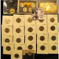 1763 . Two-piece & Four-piece Westward Journey Nickel Sets, BU; (20) Carded BU Jefferson Nickels; 19