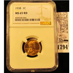 1794 . 1938 P Lincoln Cent NGC slabbed MS65 RD.
