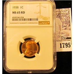 1795 . 1938 P Lincoln Cent NGC slabbed MS65 RD.
