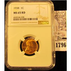 1796 . 1938 P Lincoln Cent NGC slabbed MS65 RD.