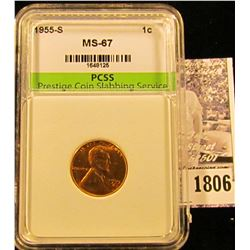 1806 . 1955 S Lincoln Cent PCSS slabbed MS67.