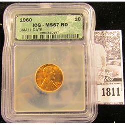 1811 . 1960 P Lincoln Cent ICG slabbed MS67 RD
