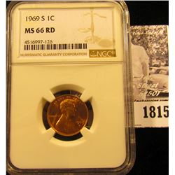 1815 . 1969 S Lincoln Cent NGC slabbed MS66 RD.