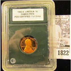 1822 . 1982 S Lincoln Cent PGC certified CAMEO PR70 Full Strike