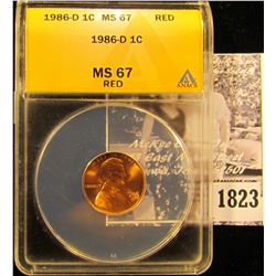 1823 . 1986 D Lincoln Cent ANACS slabbed MS67 Red