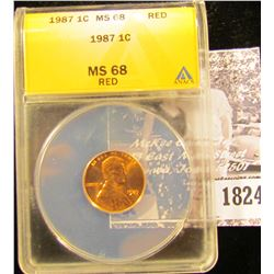 1824 . 1987 P Lincoln Cent ANACS slabbed MS68 Red