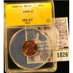 1826 . 1988 P Lincoln Cent ANACS slabbed MS67 Red