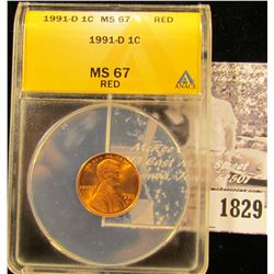 1829 . 1991 D Lincoln Cent ANACS slabbed MS67 Red
