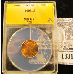 1831 . 1996 P Lincoln Cent ANACS slabbed MS67 Red