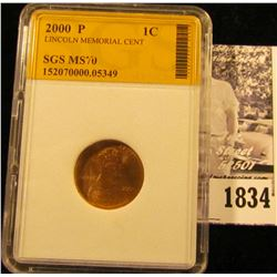 1834 . 2000 P Lincoln Cent SGS slabbed MS70.