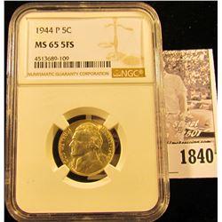 1840 . 1944 P U.S. Silver War Nickel NGC slabbed MS65 5FS