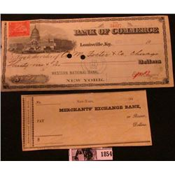 Lot 914 UNUSED BANK CHECK FROM THE MERCHANT'S EXCHANGE BANK FROM THE 1830'S. I AM ALSO INCLUDING A B