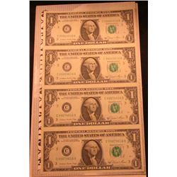 Series 1981 Four Note Uncut Sheet of $1.00 Federal Reserve Notes. Crisp Uncirculated.