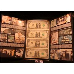 Lot 1857 Series 1981 Four Note Uncut Sheet of $1.00 Federal Reserve Notes. Crisp Unc