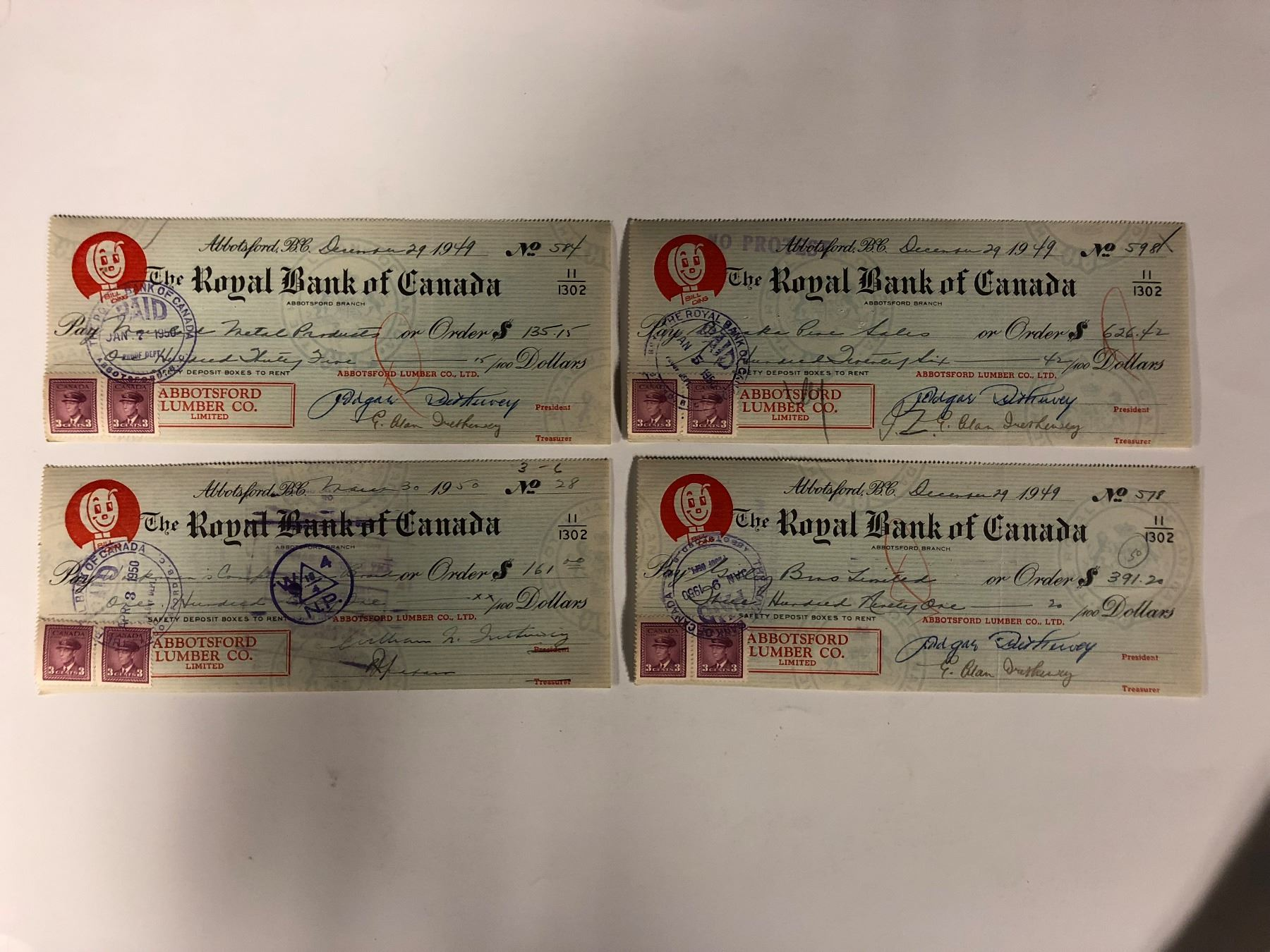 Canada cheque bank of royal Bank Of
