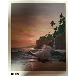 """North Shore Sunrise"" by Noelito, Original Oil, 24x30, $3500 Value, Stretched on Bars"
