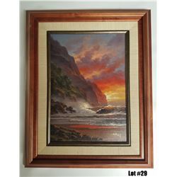 """Hawaiian Sunflare"" by Arozi, Original Oil, 10x14 $1650 Value, Koa Veneer Frame (16X28)"