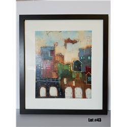 "Framed Art by Milan, Original Paper, $595 Retail, 30-3/4 X 34-3/4, Matted w/ 1-3/4"" dark brown frame"