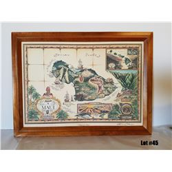 """Island of Maui"" by Blaise Domino, Paper Canvas Transfer, Solid Koa Frame 27-1/2 x 20-1/2, $595 Reta"