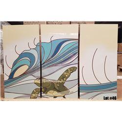 """Surfing Honu"" Metal Print Triptych by Odi, Each Panel 9x38, $830 Retail"