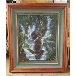 Framed Original by Rudy Gonzalez, 24x30, 36-3/8 x 42-1/4, Curly Koa Veneer Deluxe Frame, hand wrappe