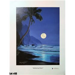 """""""Reflecting Moon"""" by R. Gonzalez, 13 of 195, Canvas Giclee, 9X12, $125 Retail, Signed and numbered."""