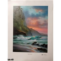 """Napali Evening"" by R. Gonzalez, 175 of 350, Canvas Giclee, 12X16, $275 Retail, Signed and numbered."