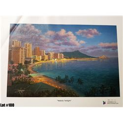 """Waikiki Twilight"" by R. Gonzalez, 237 of 350 Canvas Giclee, 13.5X9, Signed and Numbered"