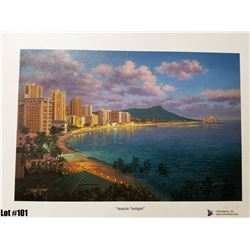 """Waikiki Twilight"" by R. Gonzalez, 239 of 350 Canvas Giclee, 13.5X9, $150 Retail, Signed and numbere"