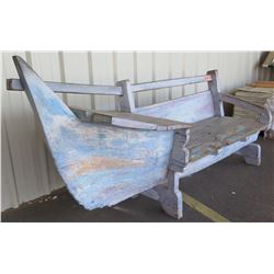 "Rustic Canoe-Theme Bench w/ Storage Compartments - Solid Wood 94"" X 25.5"" X 38.5"" Back Ht."