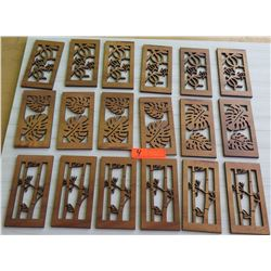 "Qty 18 Koa Veneer Laser-Cut Panels: Bamboo, Monstera, Honu Motifs, 7""L (approx.)"