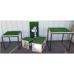 "Sanuk Astroturf Tables (3'x3'x31"", 30""x30""x30""), Benches (18""x34""x18, 18""x18x18""), Mat Panel (20x47)"