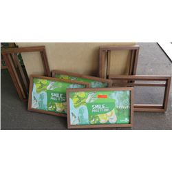 "Wood ""Slide In"" Retail Display Frames, 5pcs Total (3 w/ Sanuk Sign Inserts), Approx. 24"" x 14.5"" x 2"