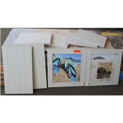Wood Panels (White Finish) & Framed Hawaii-Theme Promotional Prints (Cabinet Door Style Frames)