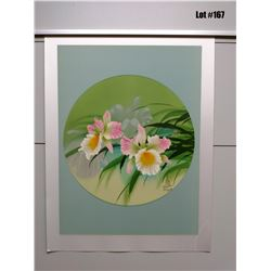 Orchid  by David Lee, Serigraph on Silk, 19 3/8X25 3/8, Retail $375, Signed/Numbered 216 of 250