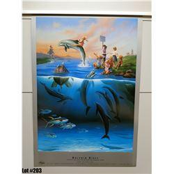 """Dolphin Rides"" by Wyland/Jim Warren, Paper, 18 X 26"